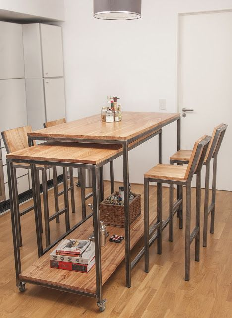 Mesa barra m vil chipi chipi madera y hierro muebles for Comedor tipo barra