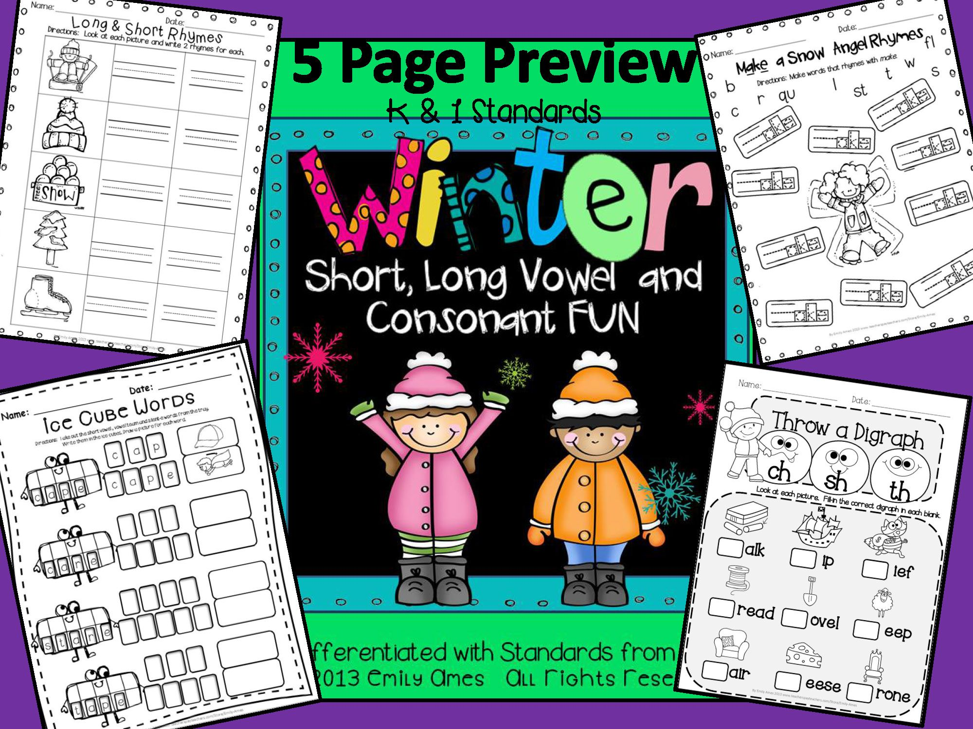 Winter Literacy Fun Short Amp Long Vowels Digraphs And