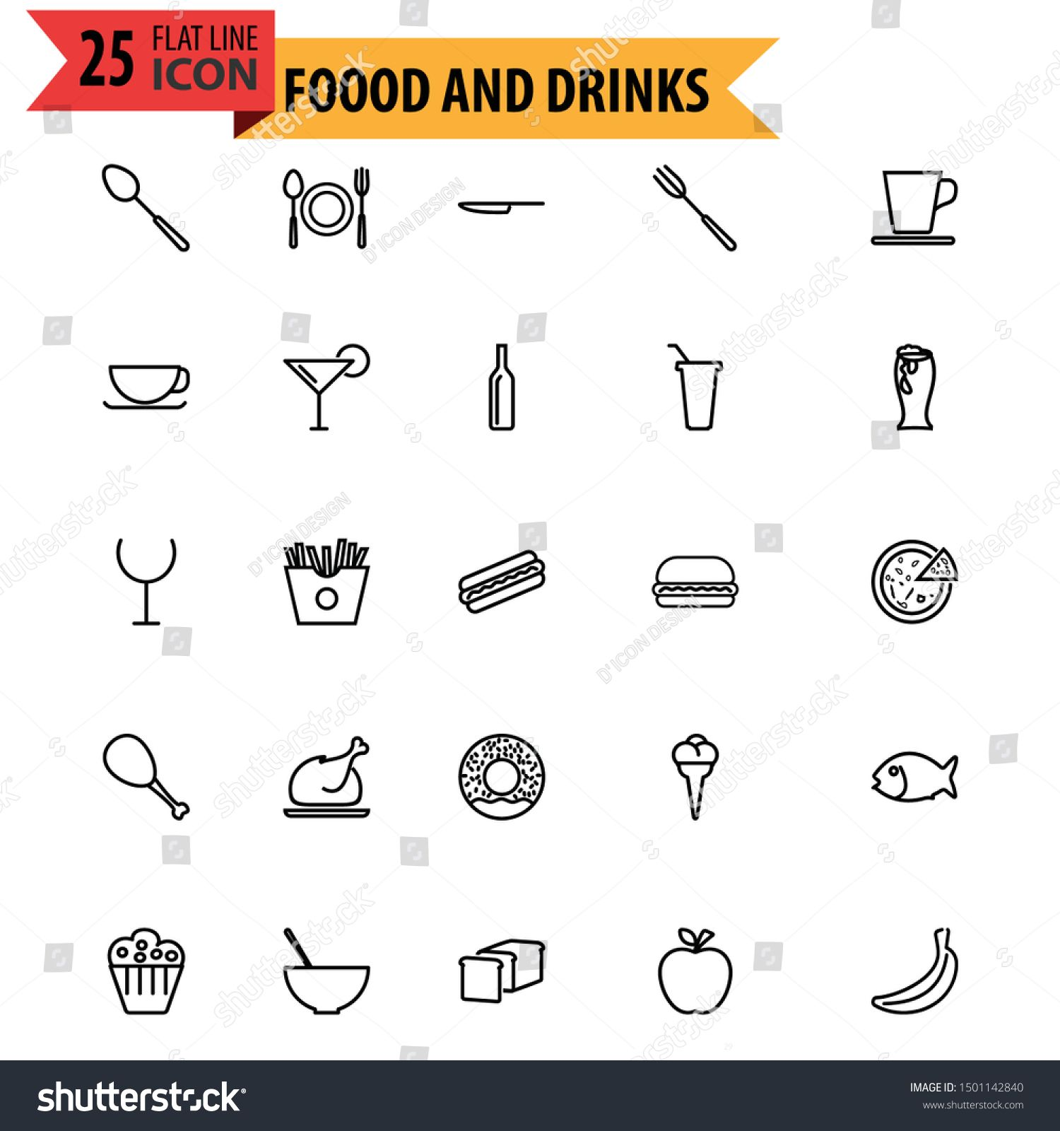 Modern Food and Drinks Restaurant Icon Set #Sponsored , #ad, #Drinks#Food#Modern#Set