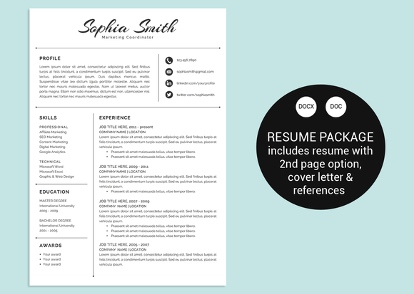 Classic Script Word Resume Template  Resume Templates On Creative
