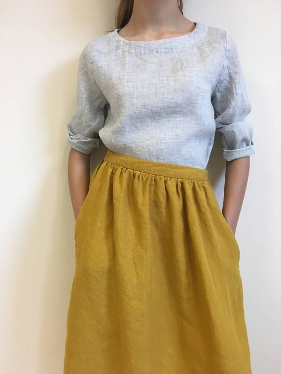 0e435988d27 Yellow linen maxi skirt