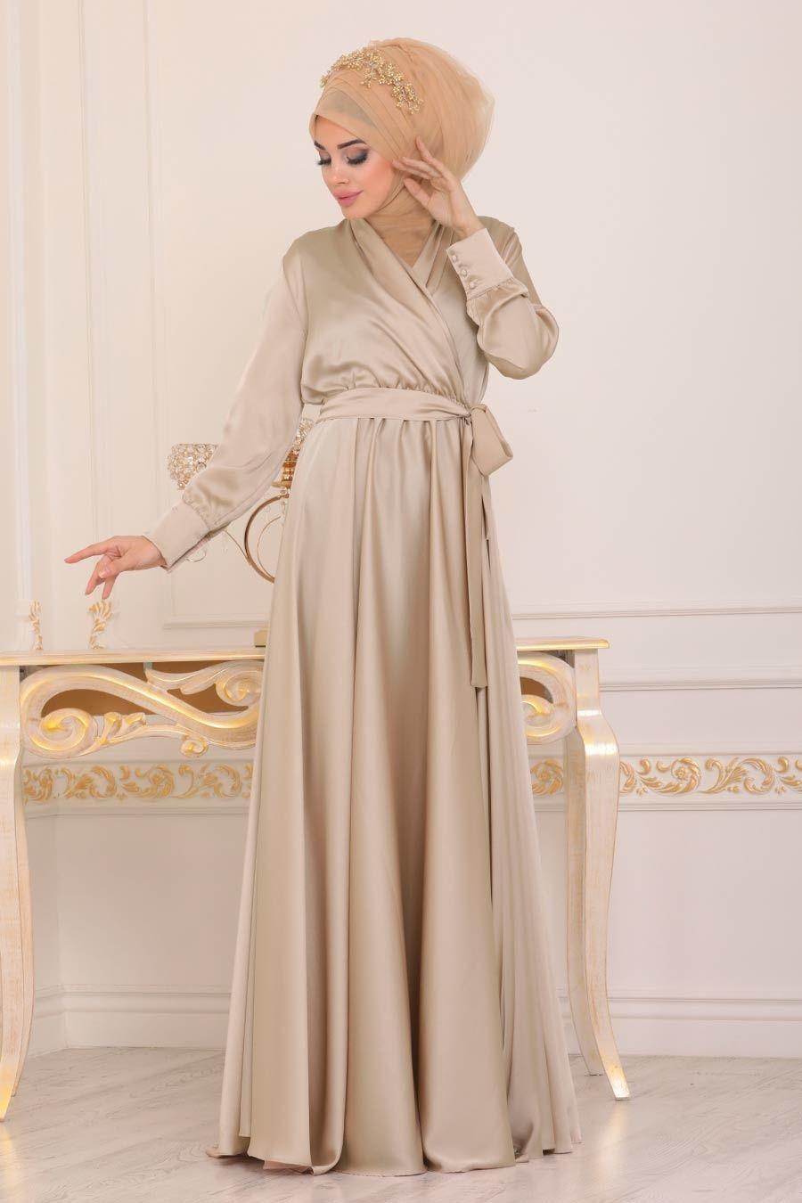 Tesetturlu Abiye Elbise V Yaka Krep Saten Bej Tesettur Abiye Elbise 1418bej Tesetturisland Com Aksamustu Giysileri The Dress V Yaka