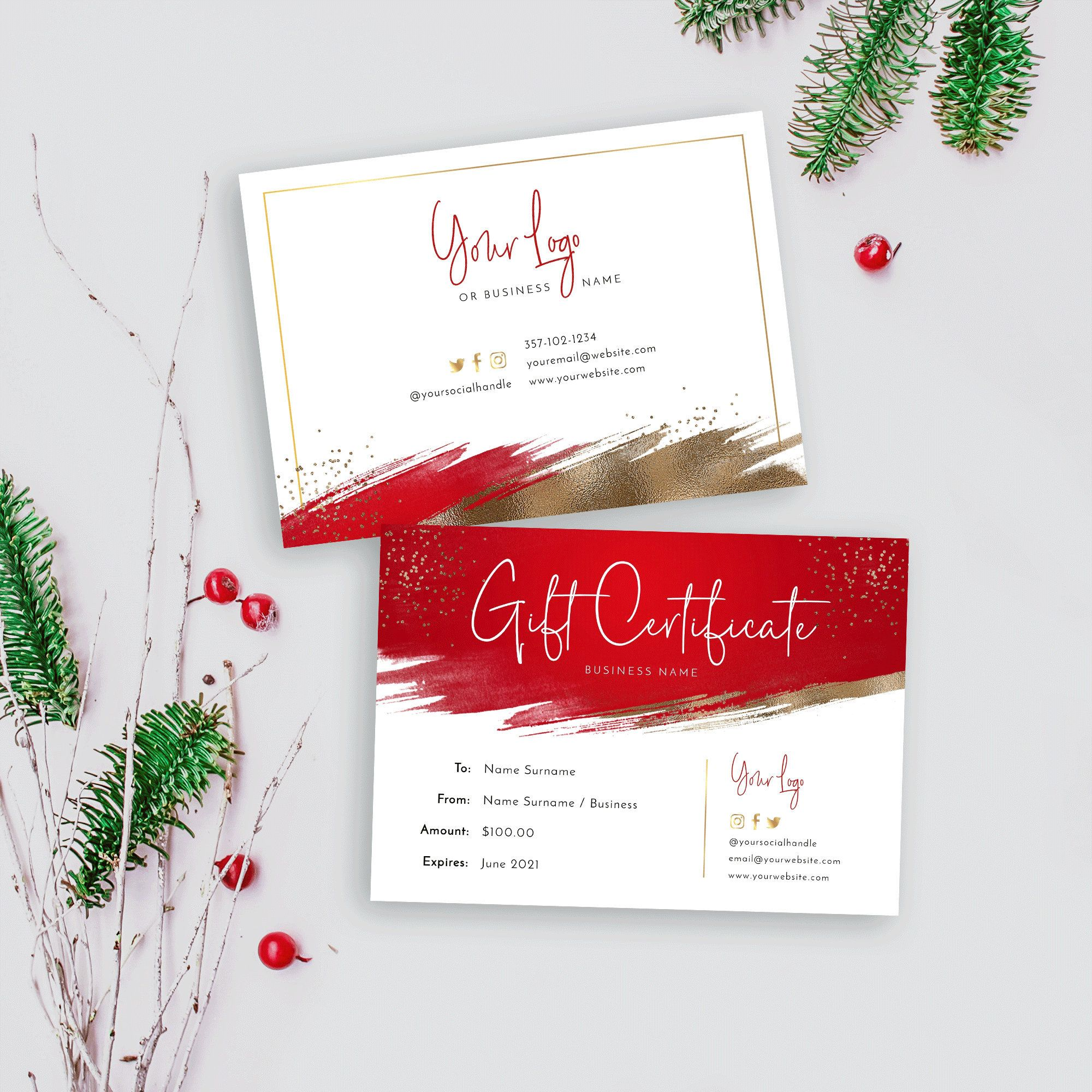 Christmas Gift Certificate Template Holiday Gift Voucher Etsy Christmas Gift Certificate Template Holiday Gift Card Christmas Gift Vouchers