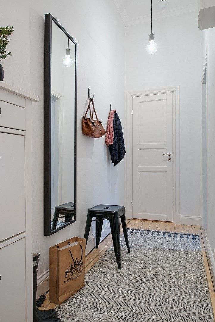 Gorgeous Hallway Simple Design Long Mirror Stool And Hooks