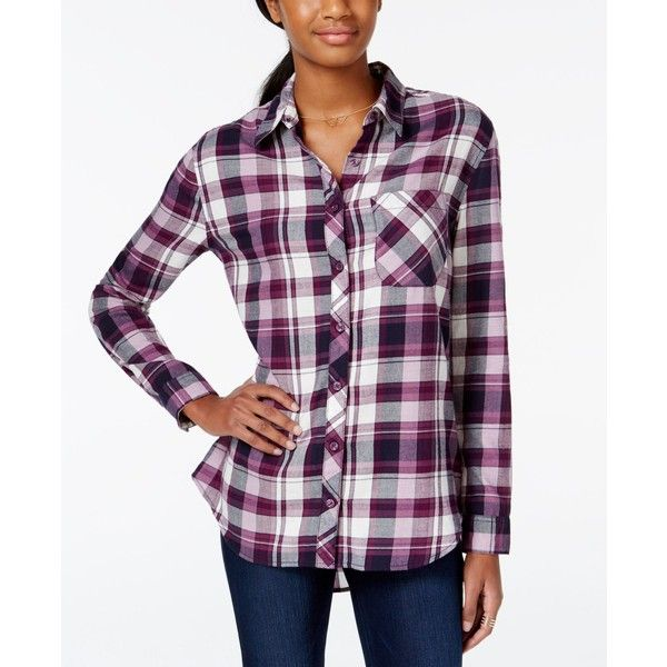 At Last Juniors' Plaid High-Low Button-Front Shirt ($34) ❤ liked on Polyvore featuring tops, shirts & tops, button front tops, plaid shirt, purple shirt and purple top