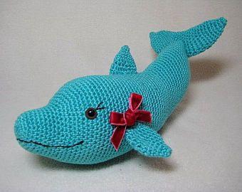 Free Amigurumi Dolphin Pattern : Dolphin amigurumi crochet pattern pdf sea animal baby gift toy