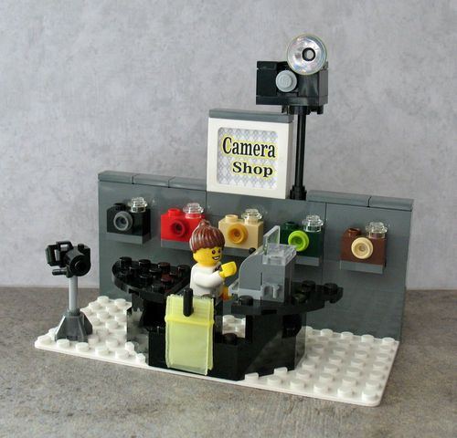 Custom Lego Camera Shop Store Cash Register Mini Miniature For