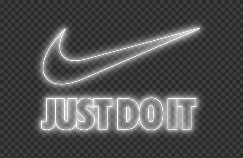 Hd Nike Just Do It Neon White Outline With Tick Logo Png Just Do It Neon Outline