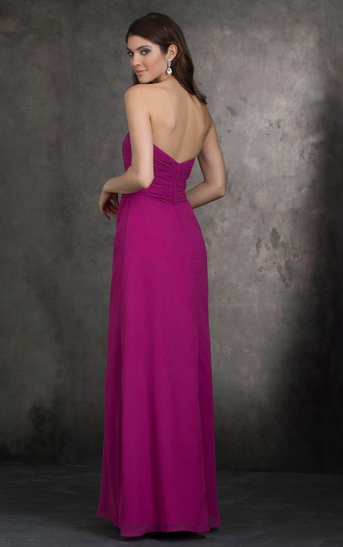 Strapless Ruched Long Fuchsia Chiffon Bridesmaid Dress with Sash ...