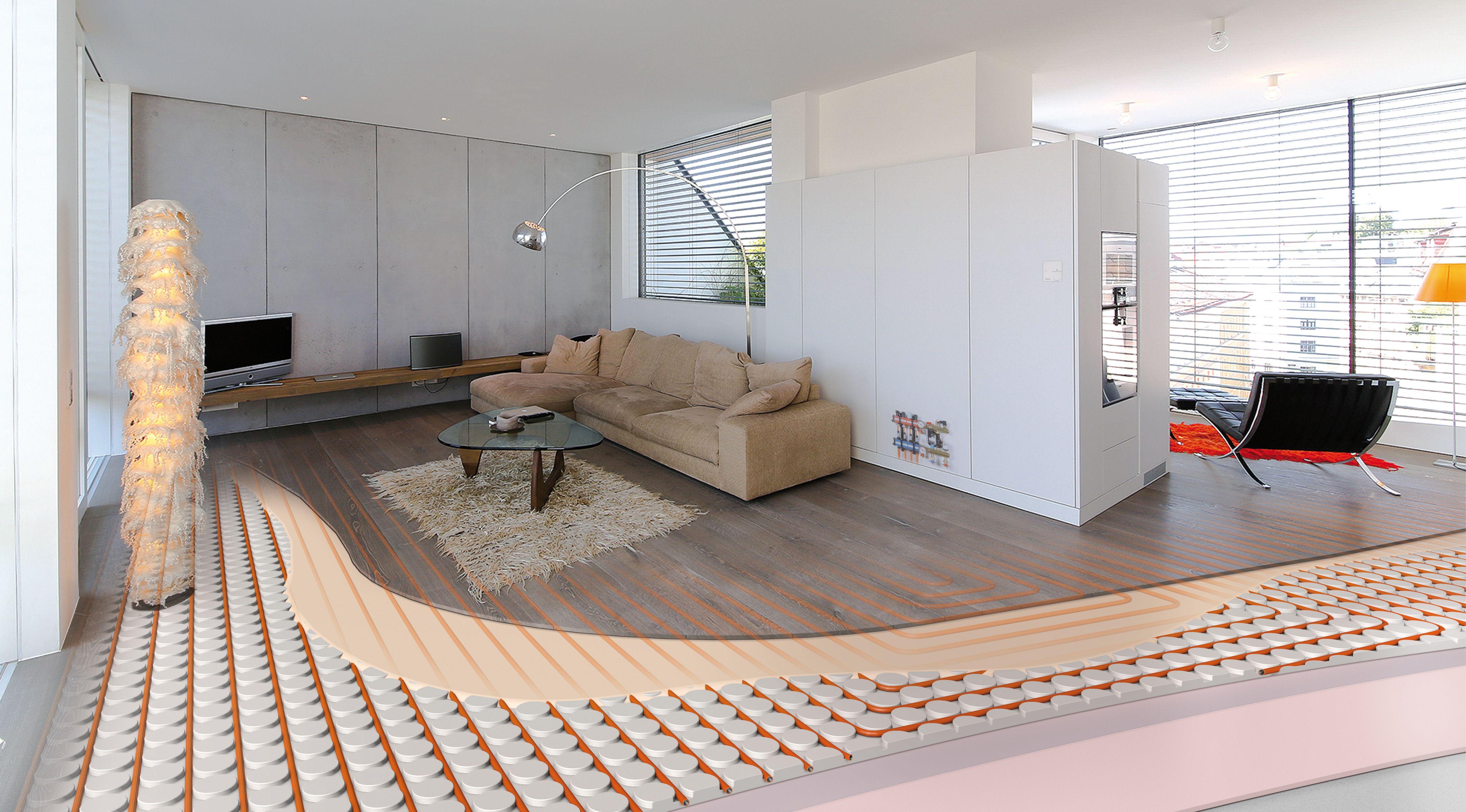 Zeer dunne vloerverwarming waar laminaat hout pu gietvloeren of