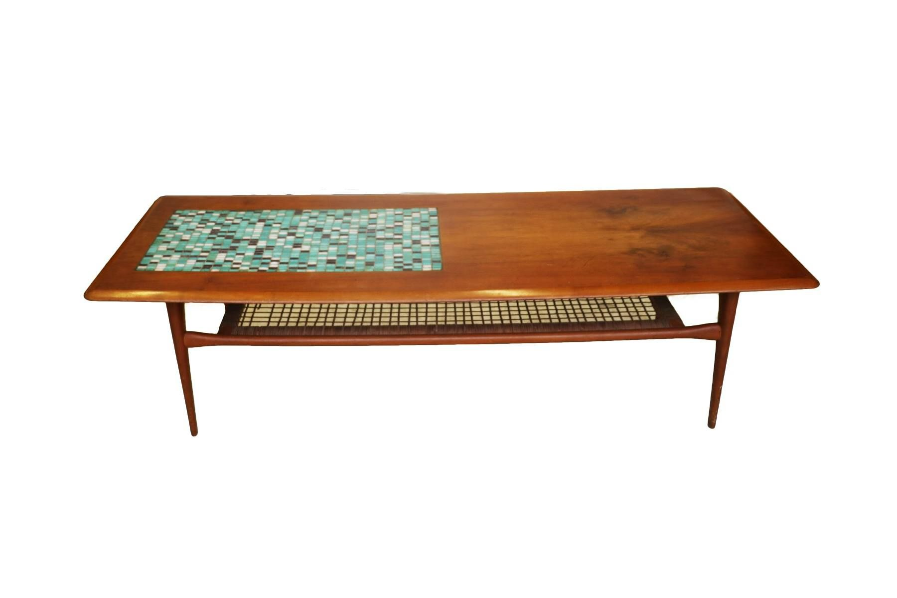 Mid Century Danish Coffee Table Two Tier Description This Beautiful Modern Features A Rectangular Top With An Inset Mosaic Panel