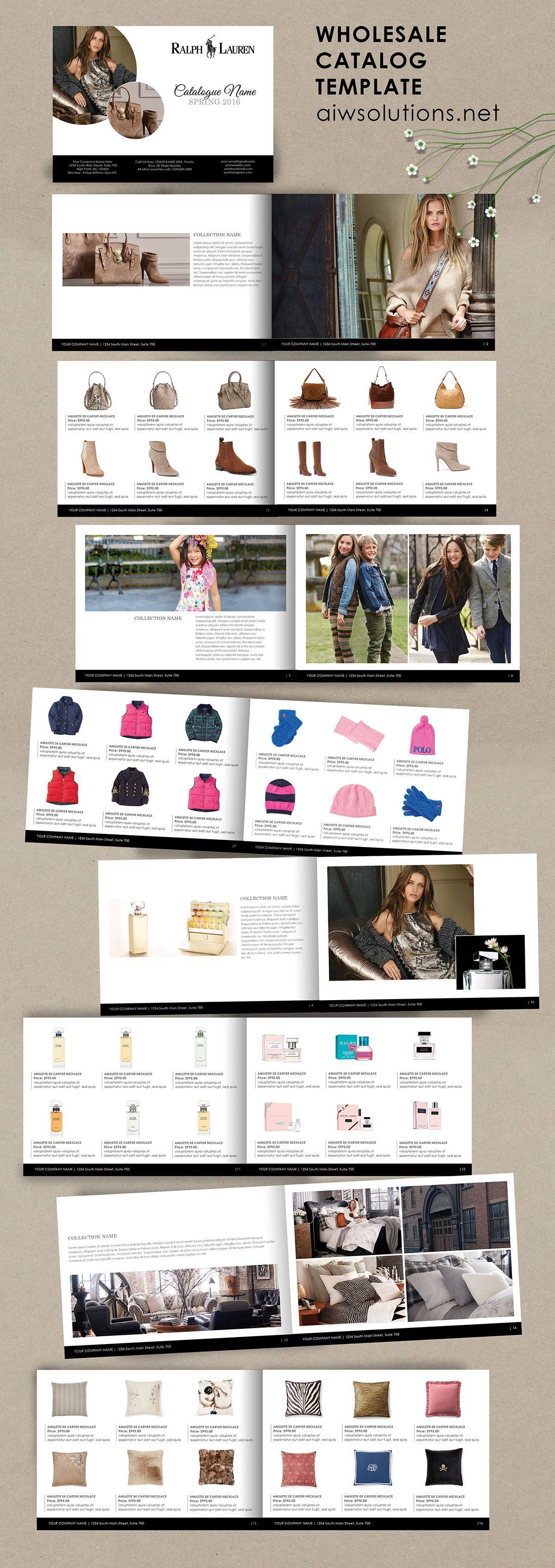 Product Catalog Template For Hat Shoe Hand Bag Accessory Jewellery Lookbook