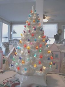 Vintage Ceramic Christmas Tree White Iridescent Mother of Pearl 20 ...