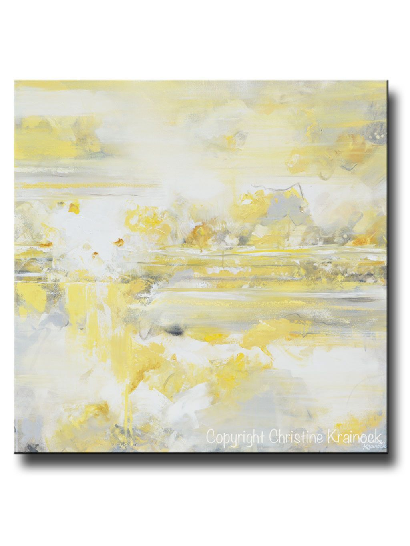 Giclee Print Art Yellow Grey Abstract Painting Modern Coastal