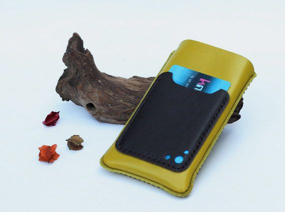 iPhone Leather case with back card slot (for iPhone5/5s/5c with slim case) - Lemon Green - Men/Women