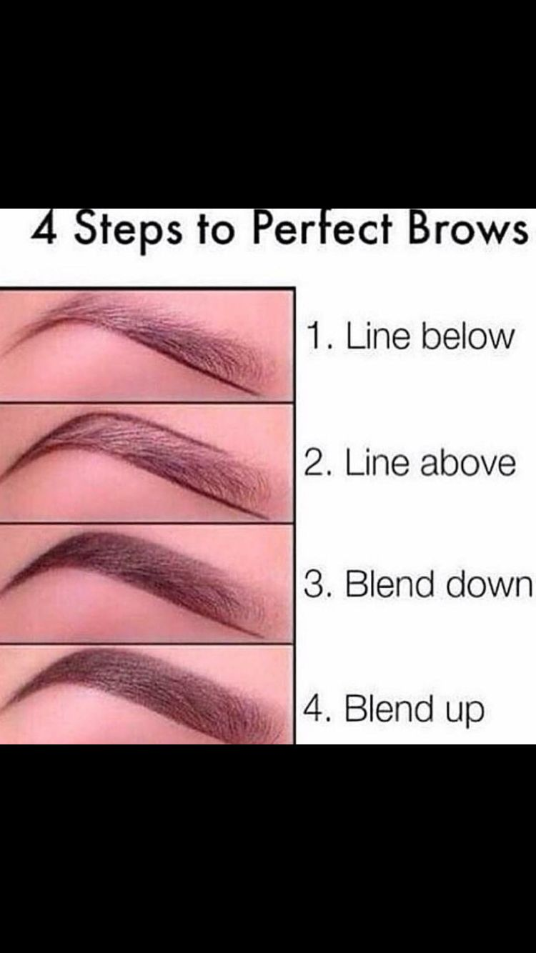 Easy 4 step to perfect browsss I recommend using a Mac spiked eyebrow pencil or a NYX Micro Brow Pencil to lightly sketch out the lower eyebrow Easiest guide in my opinion