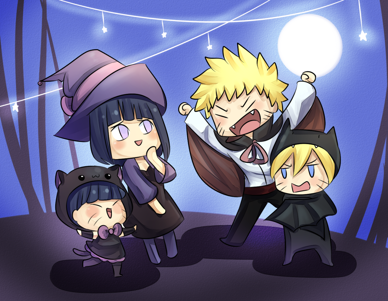 NaruHina Halloween Hinata is a Witch with her Black Cat Himawari ...
