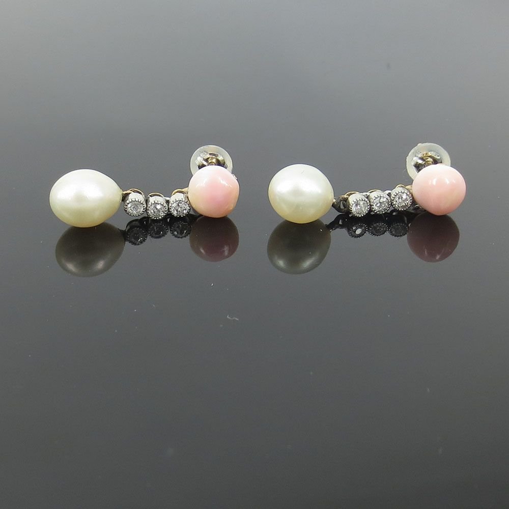 Antique Diamond Natural Untreated Saltwater & Conch Pearl Silver & Gold  Earrings