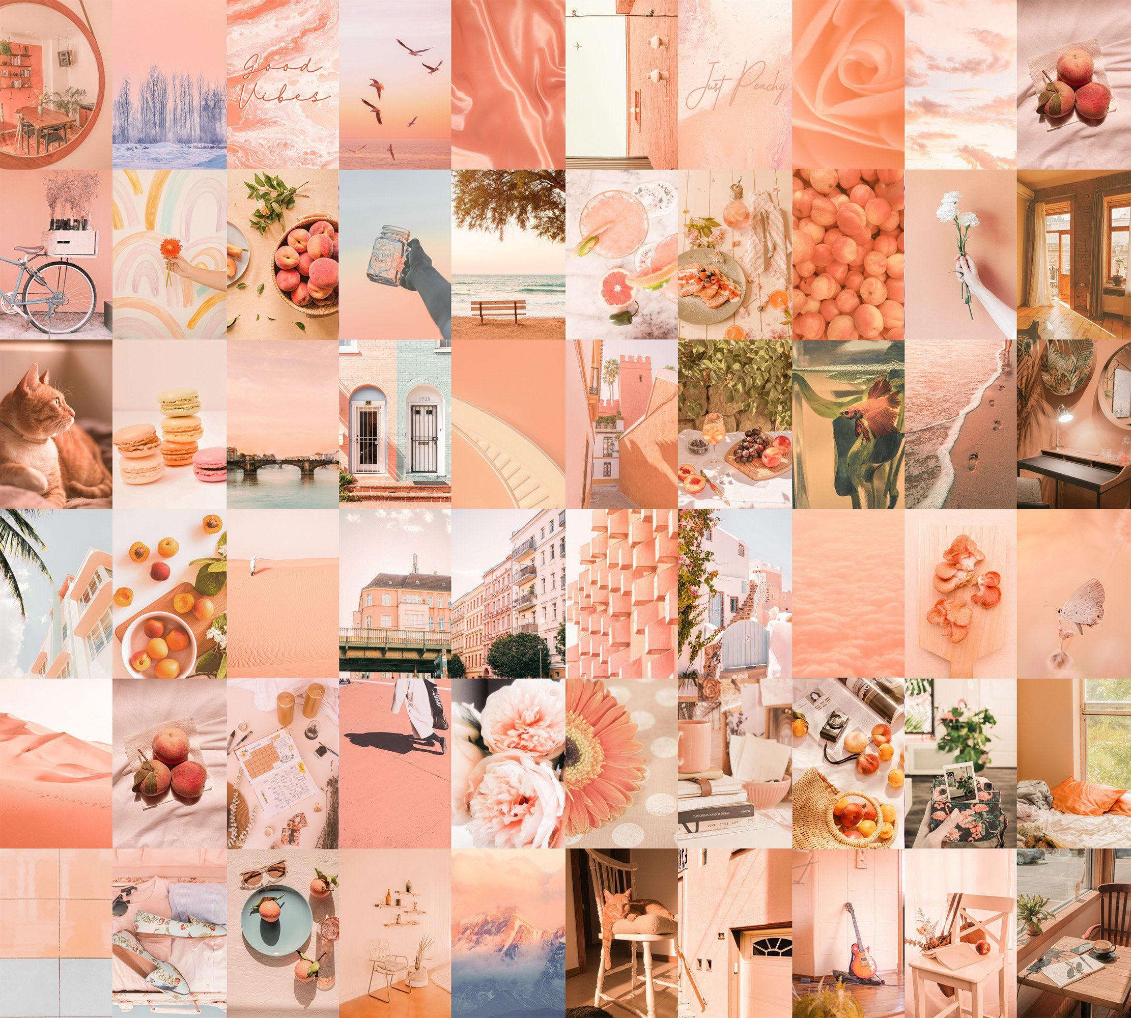 Wall Collage Kit Aesthetic Peachy 60pcs Digital Photo Wallpaper Download Pastel Peach Vision Mood Board Set Printable Art Room Decor Wall Collage Photo Wallpaper Print Collage Download aesthetic room colors