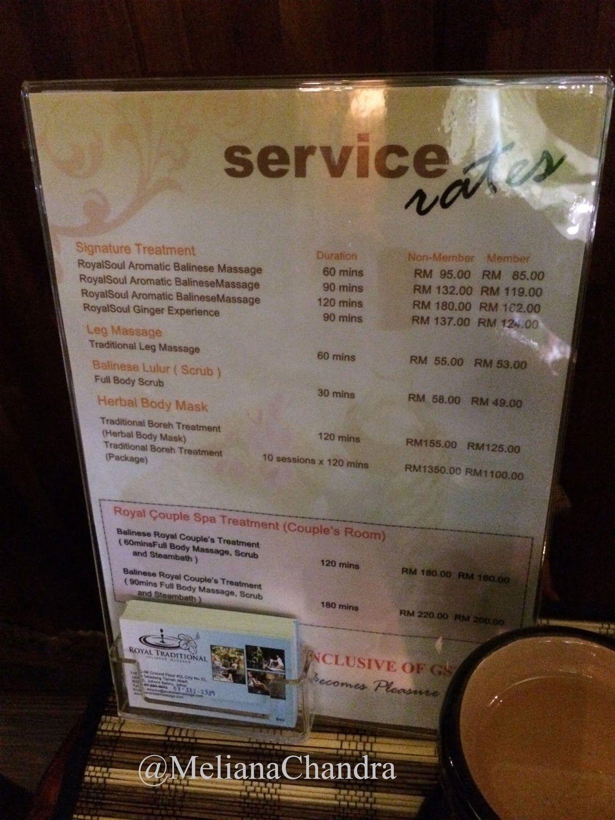 Service Rates of Royal Balinese Spa | [FOOD and TRAVEL