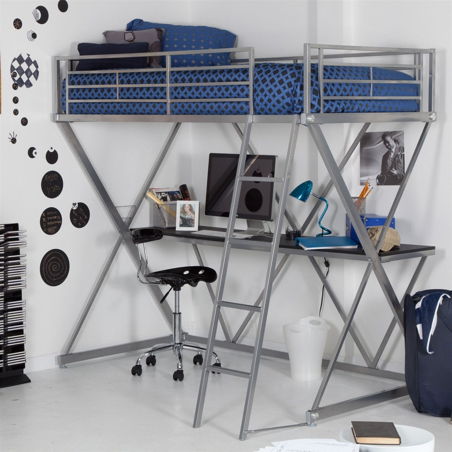 Metal loft bed with desk underneath  Modern Bunk Bed style Twin Loft Bed with Desk in Silver Metal Finish