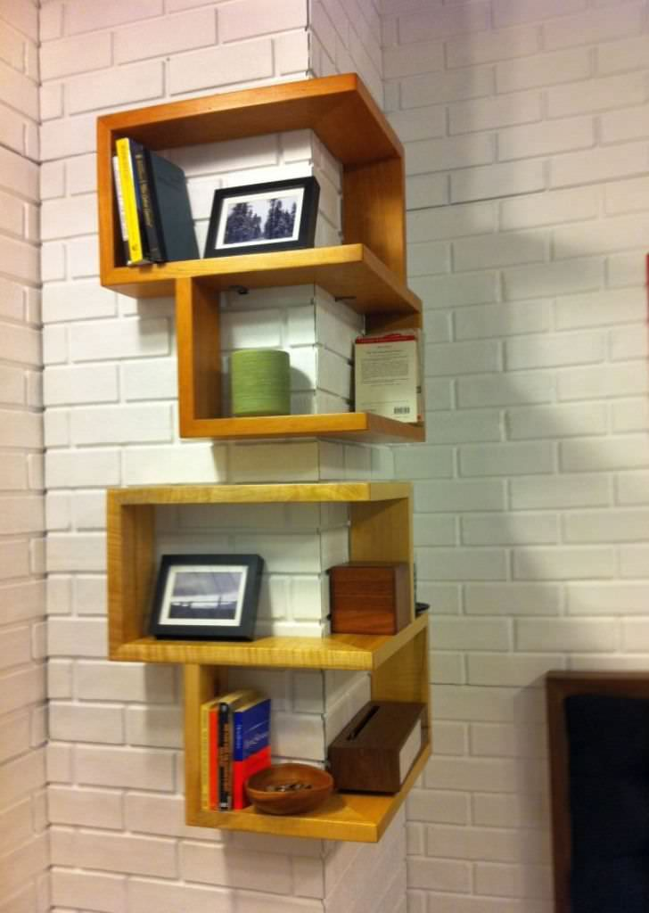 Custom Corner Zig Zag Wall Shelf Diseno De Estantes De Pared Estantes De La Esquina Diseno De Estanteria