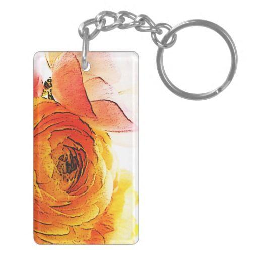 Gardenia Double-Sided Rectangular Acrylic Keychain