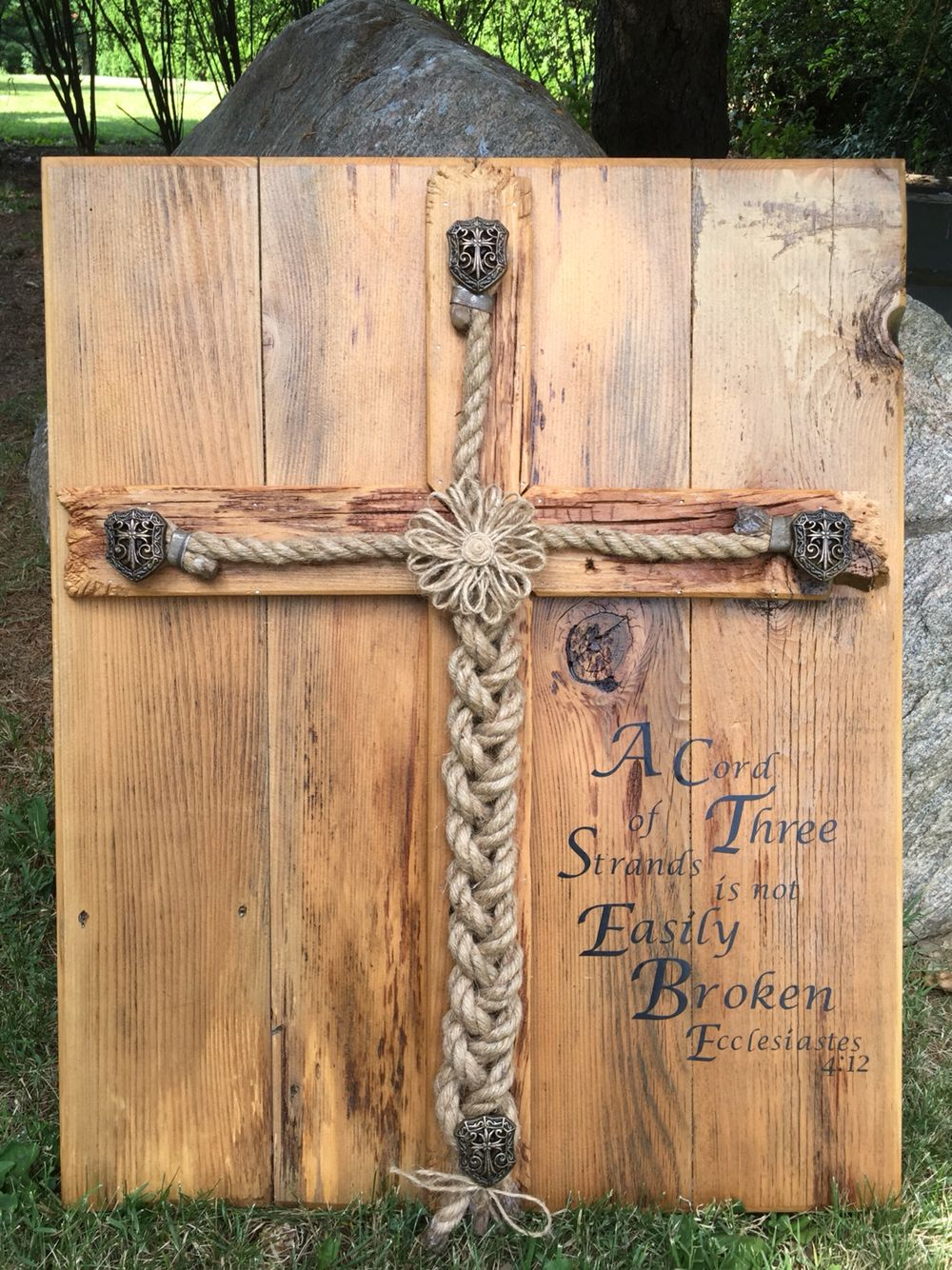 Personalized Rustic Wedding Alternative Unity Ceremony Idea Jute Braided Rope Wood Sign A Cord Of Three Strands