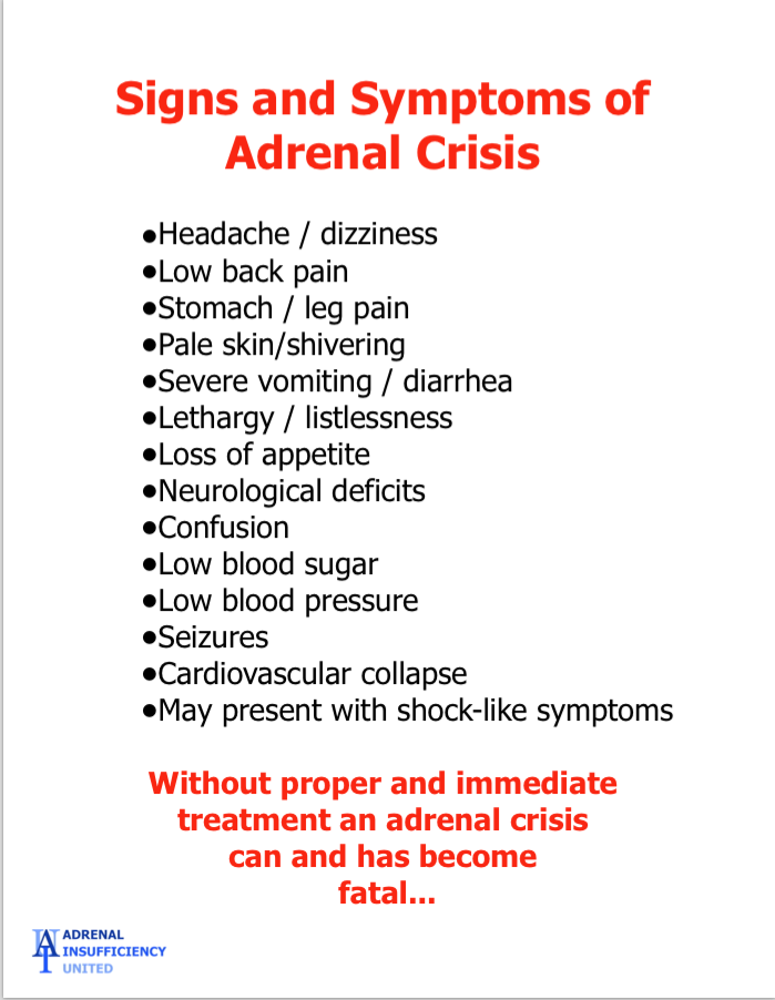 Signs And Symptions Of Adrenal Crisis Support For Addisons