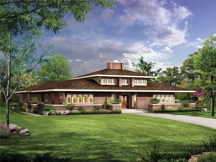 057h 0024 Contemporary House Plan Wraps An Open Courtyard Prairie Style Houses Prairie House Craftsman Style House Plans