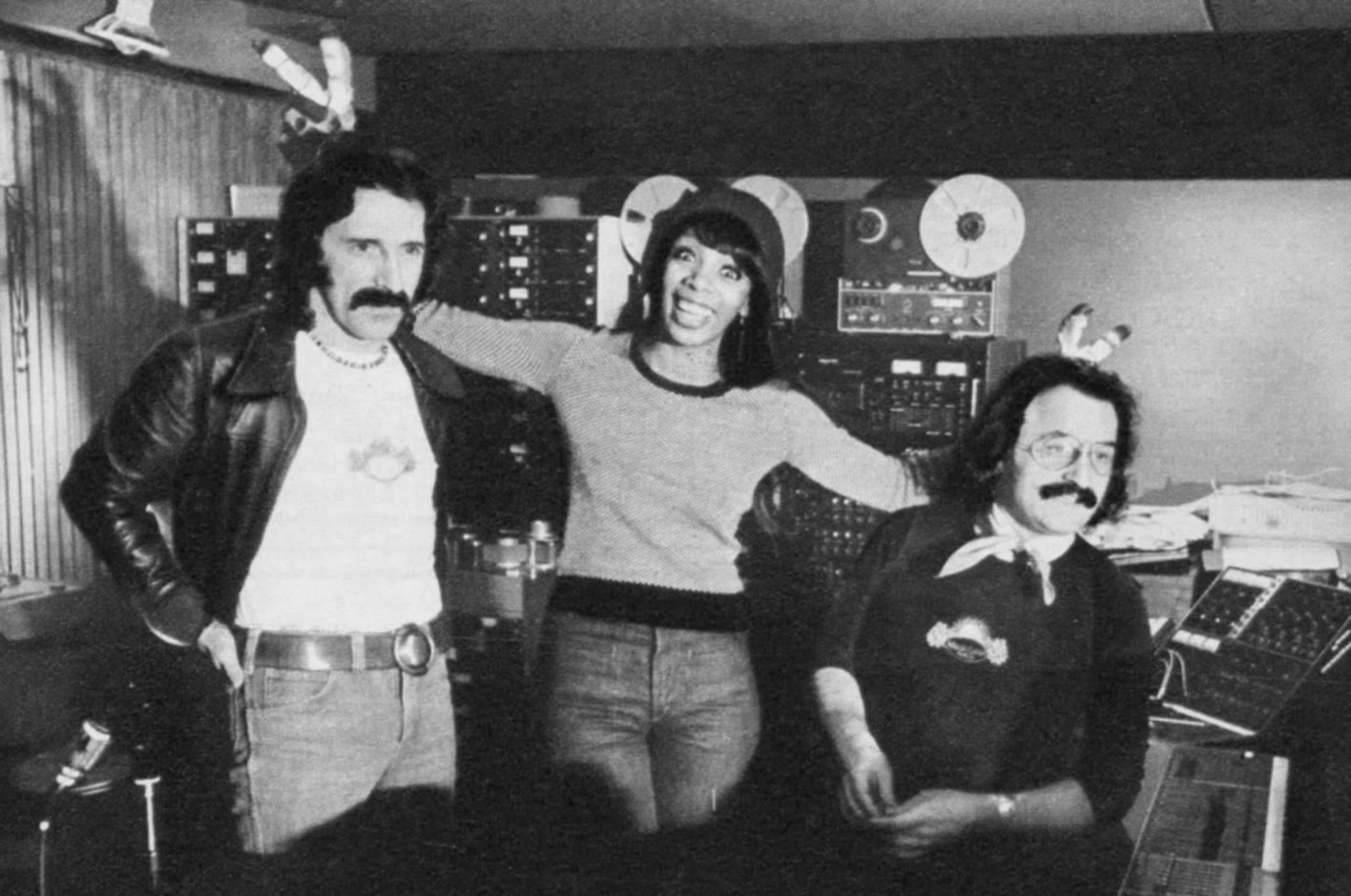 Donna Summer with Giorgio Moroder and Pete Bellotte in Musicland studios in Germany .