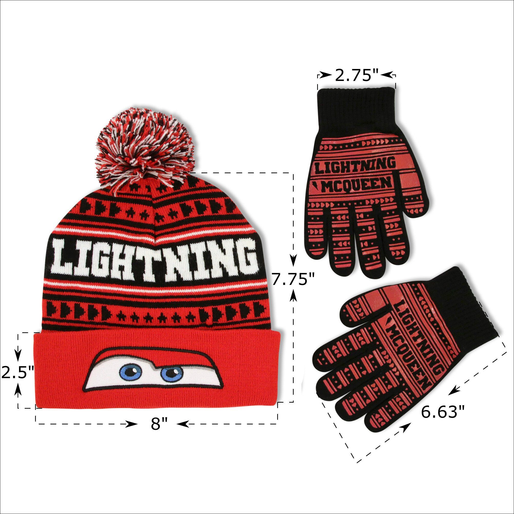 Disney Cars Lightning Mcqueen Winter Beanie Hat /& Gloves Set