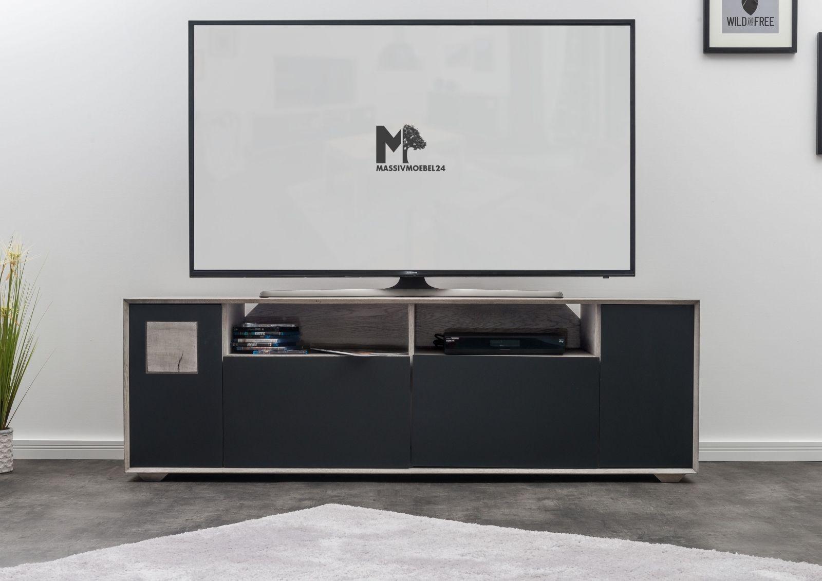 TV-Board Zerreiche 180x50x58 ice grey lackiert HELSINKI #222 ...
