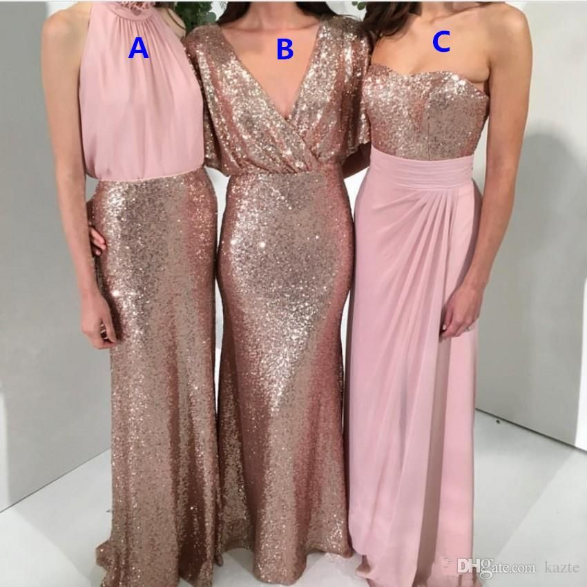 f7f43c51ff Sparkly Rose Gold Sequins Chiffon Long Bridesmaid Dresses 2018 Modest Custom  Make Cheap Maid of Honor Wedding Guest Junor Dress Mermaid Wedding Dress  Rose ...