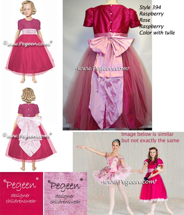 097394bd8cd Flower girl dress 394 raspberry red bodice and skirt with a rose cinderella  bow and tulle