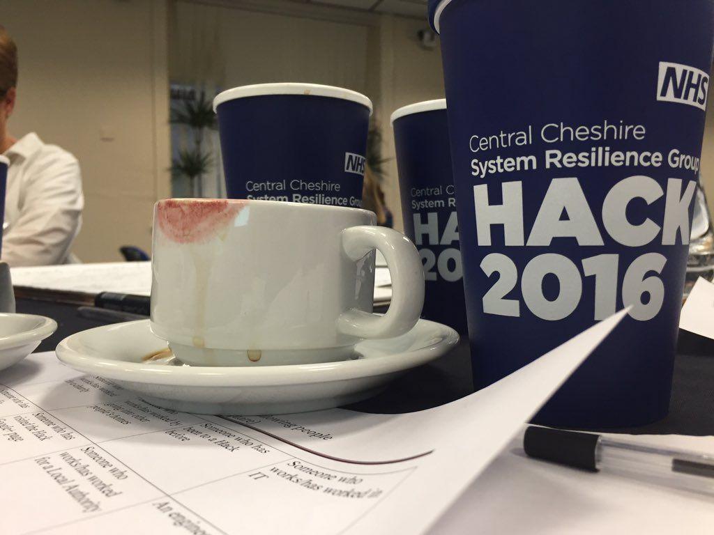 Dominic Cushnan @DomCushnan So much coffee has been drunk here #CCSRGHACK #NHSTform (not my lipstick) pic.twitter.com/V0SVUMkkxs