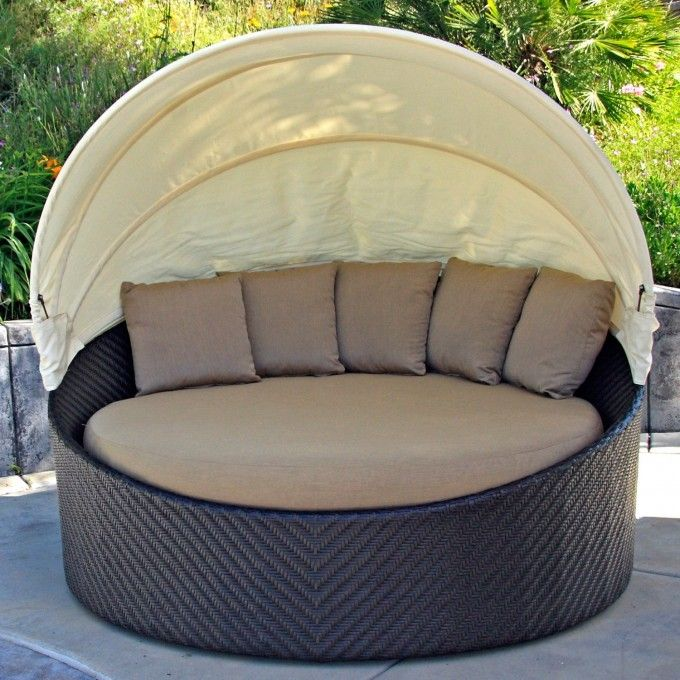 Interesting Circle Gray Fabric Seat Feat Cushion Also Rattan Base Frame  Outdoor Daybed With White Half Canopy In Backyard Furniture Ideas