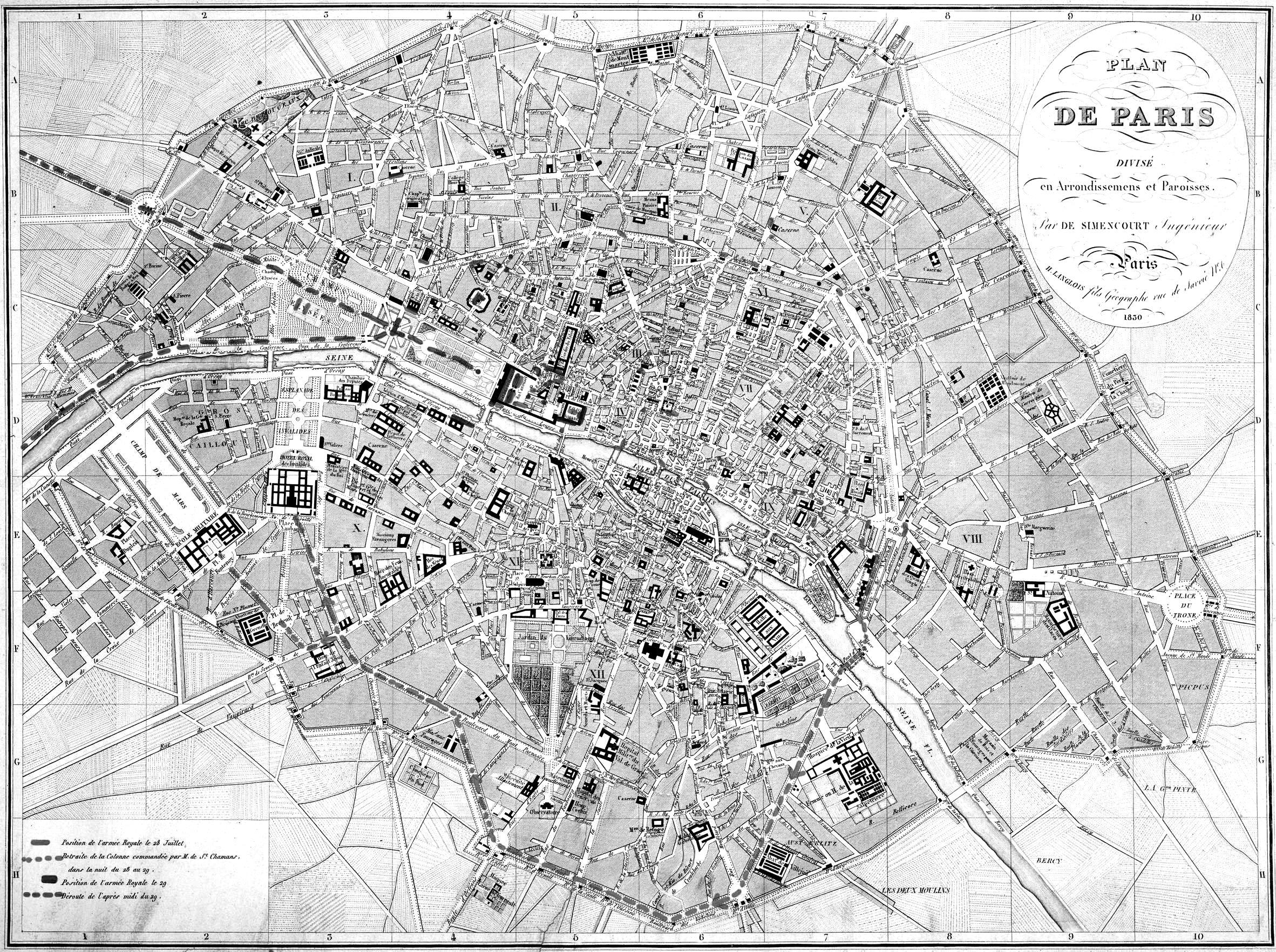 Map Of Paris By De Simencourt