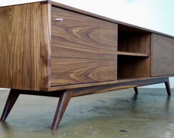 Mid Century Modern Walnut Tv Stand Cabinet Handmade Media Etsy In 2020 Tv Furniture Living Room Tv Stand Furniture