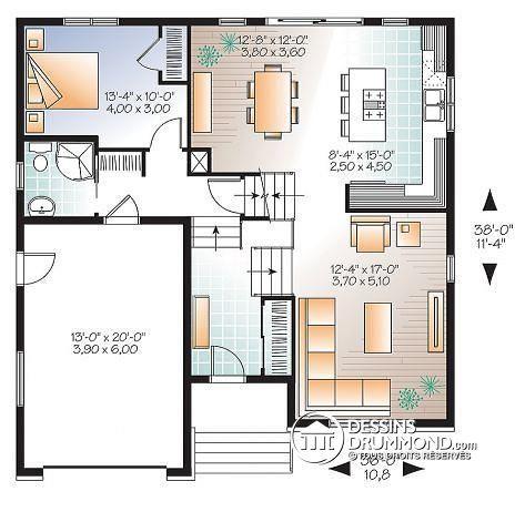 Détail du plan de Maison unifamiliale W3490 Idées pour la maison