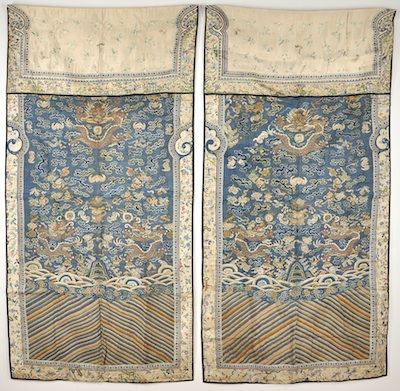 A Pair of Chinese Silk Textiles, ca. 1830