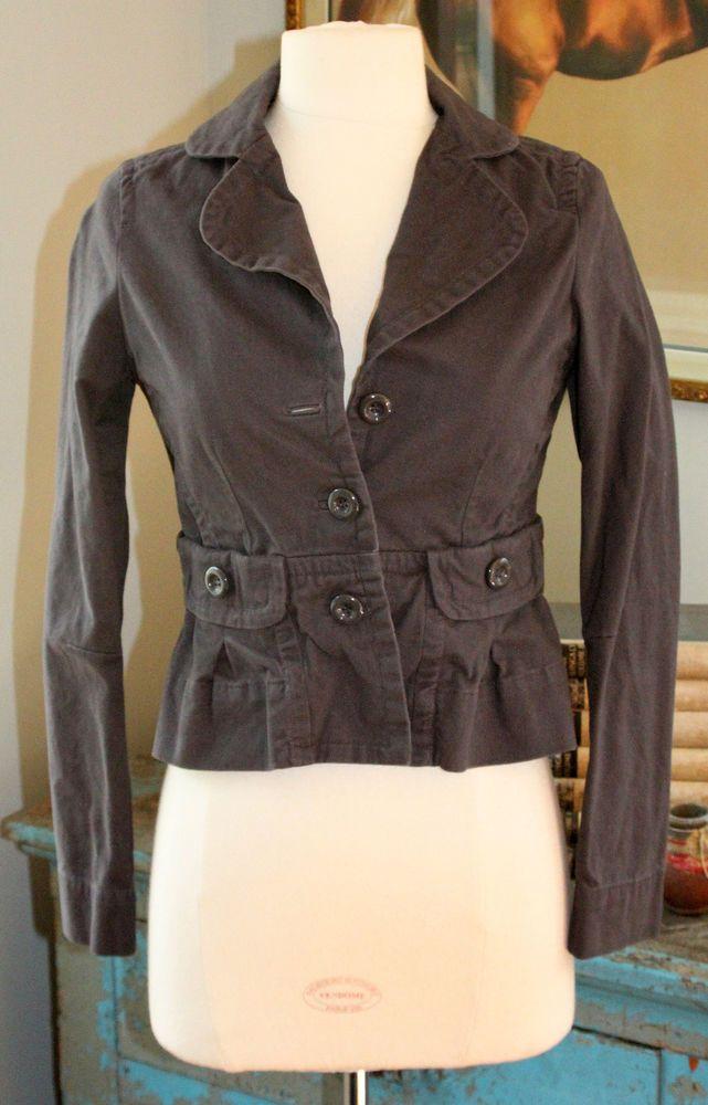 Anthropologie ETT TWA Gray Cotton Jacket 0 Embroidered Bird Lining Crop Blazer #Anthropologie #BasicJacket
