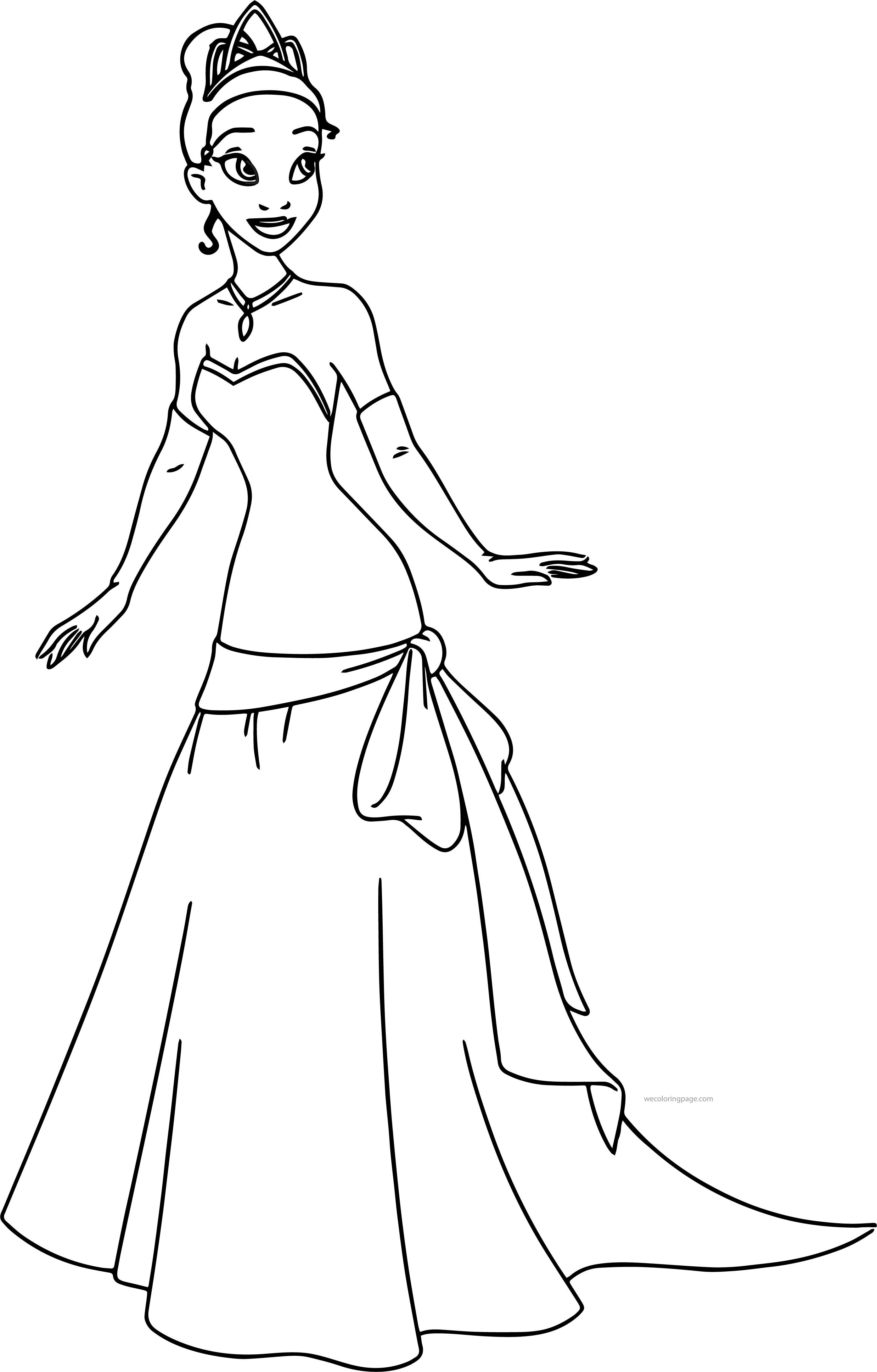 Cool Disney The Princess And The Frog Perfect Tiana Dress Coloring Page Disney Princess Colors Disney Princess Coloring Pages Princess Coloring Pages