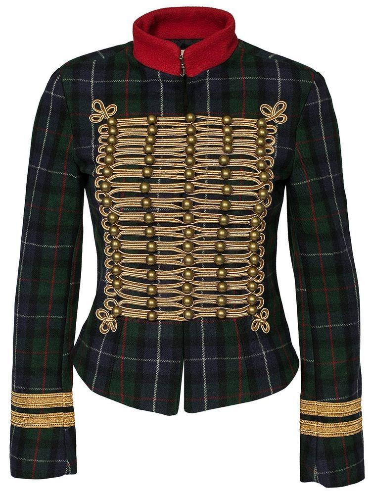 NEW Ralph Lauren Denim Supply Plaid Military Officer Jacket- Womens ... ca957daa8a1