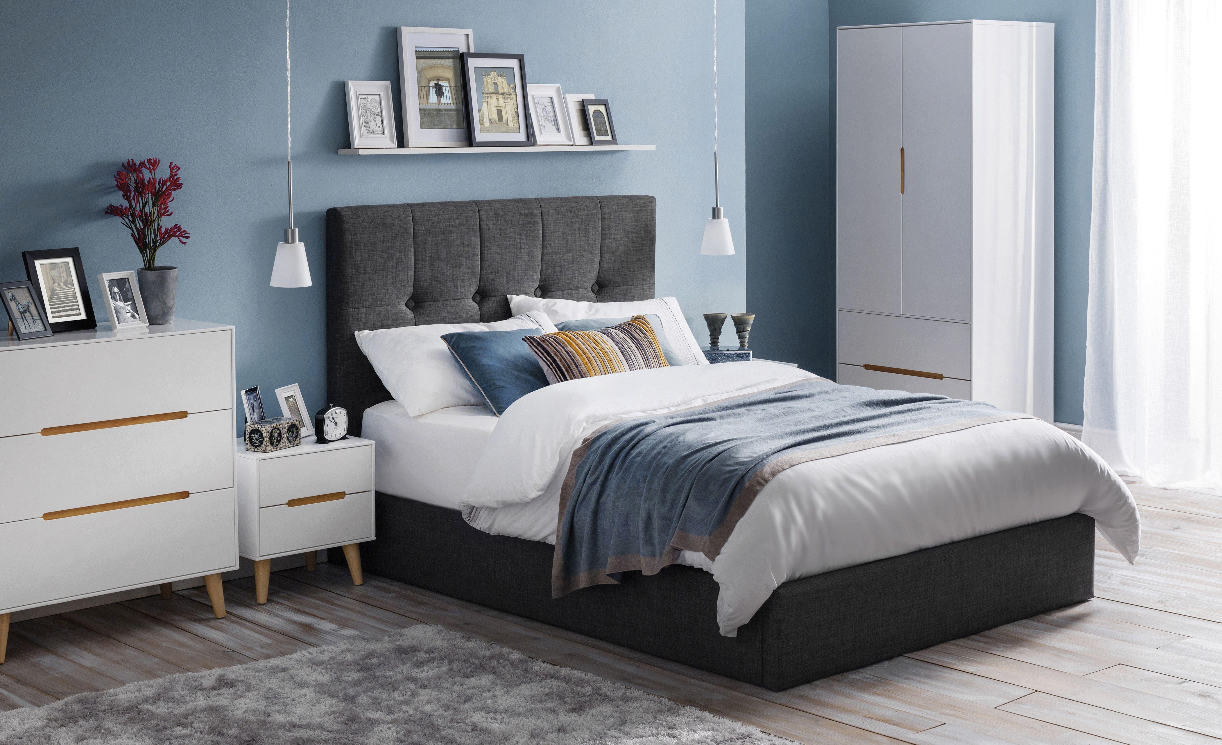 Sorrento Slate Grey Ottoman Fabric Bed Frame 4ft6 Double Bedroom Furniture Sets Furniture Modern Bedroom Design