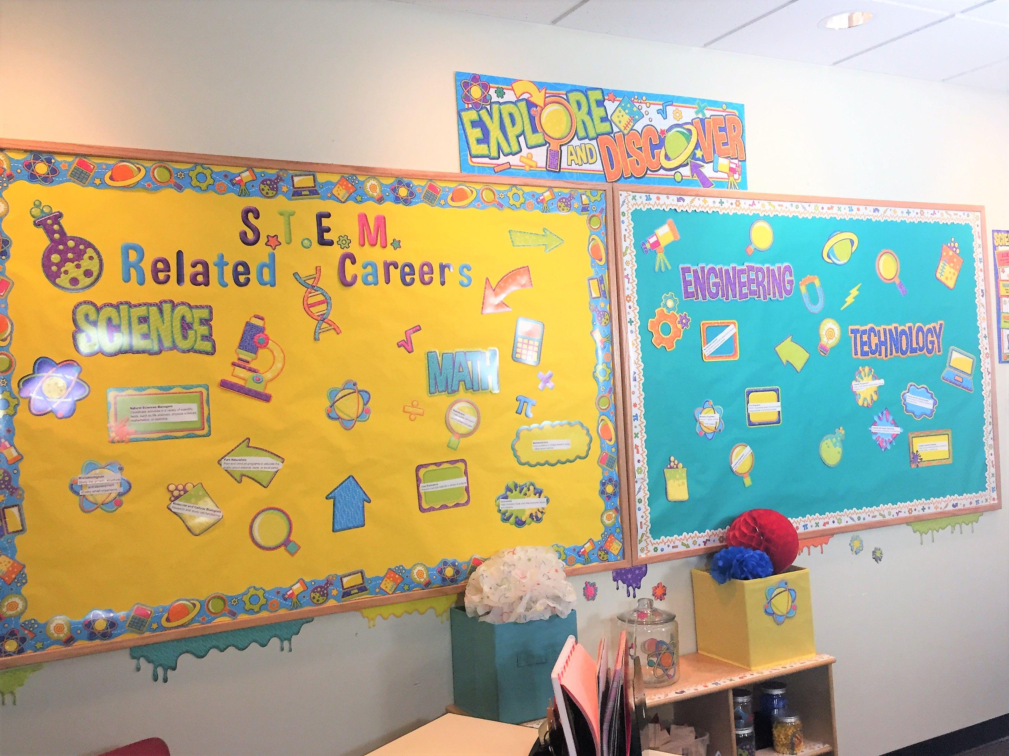STEM classroom decorations. Bulletin board ideas | Eureka STEM ...