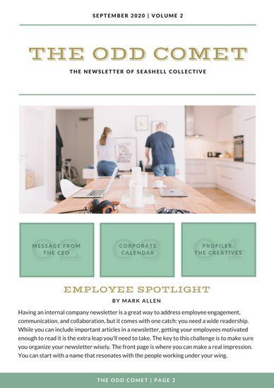 Teal And White Simple Employee Newsletter  Icf Media
