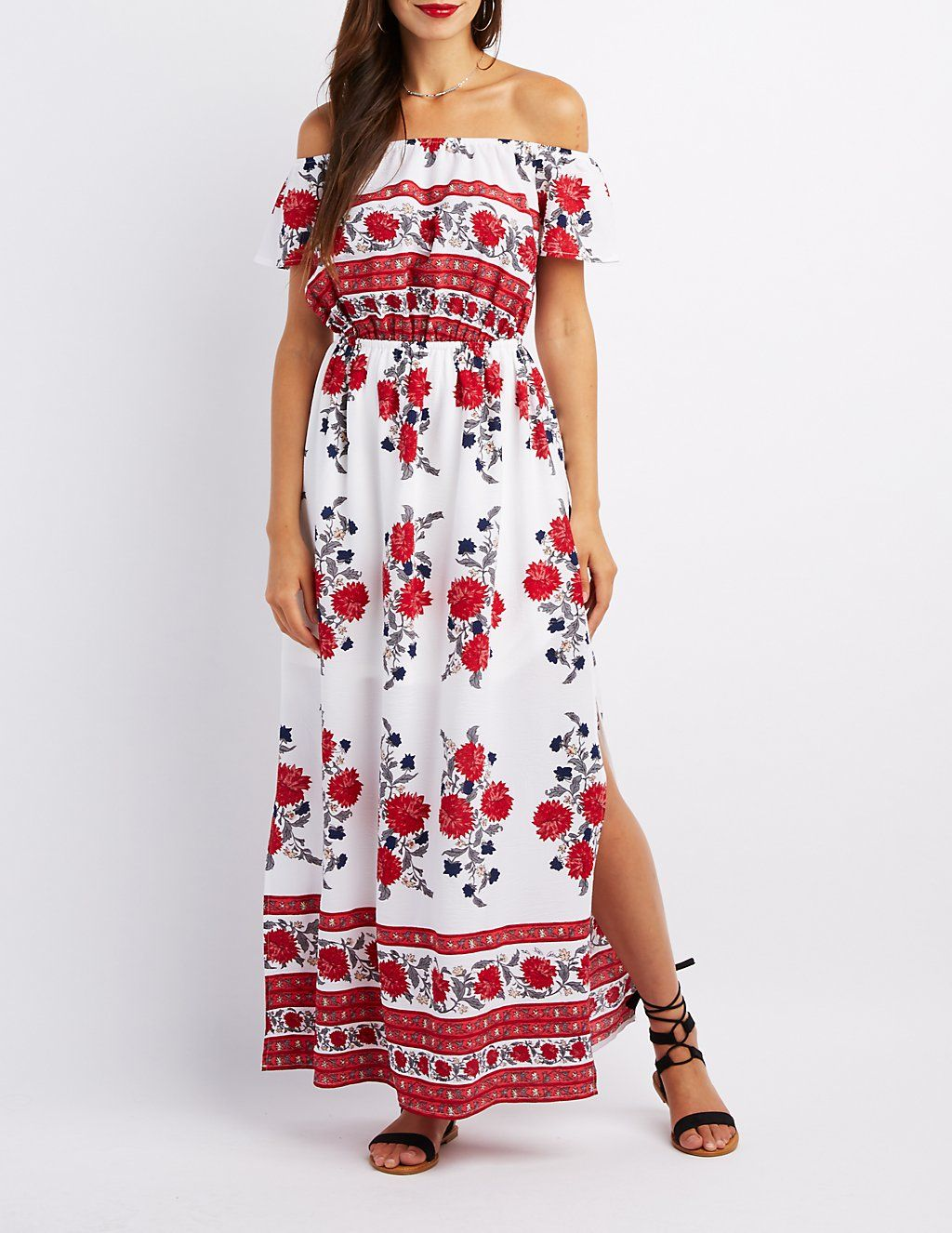 5b3b3c11e6 Floral Off-The-Shoulder Maxi Dress
