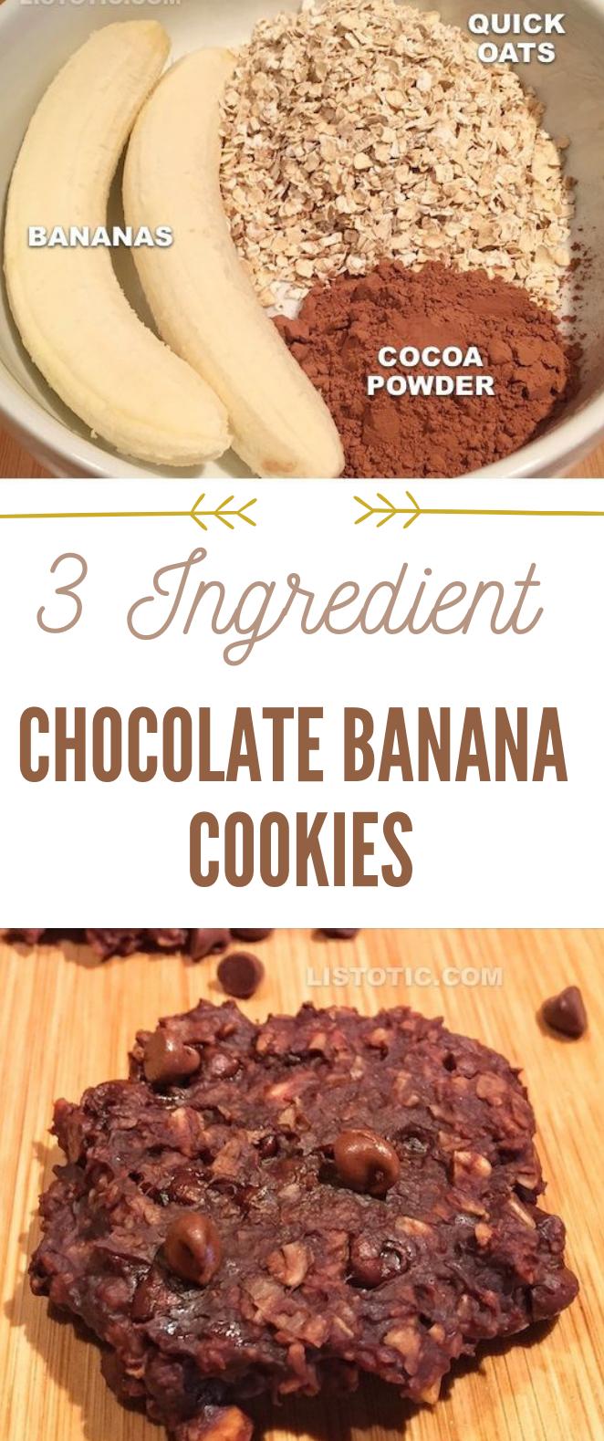 3 Ingredient Healthy Chocolate Cookies #cookies #cakes images