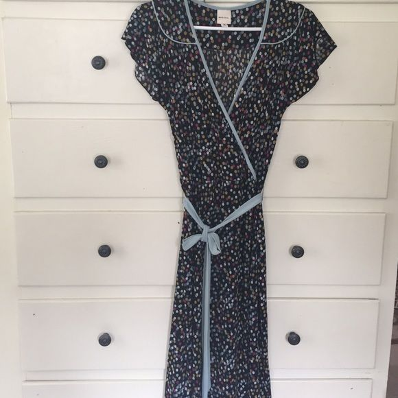 """Polka dot Faux wrap dress but front opens 42"""" L polyester probably but really cute Dresses Midi"""
